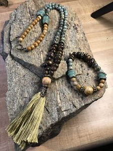 Bronzite Jasper, African Turquoise, Green Adventurine, Green Tassel Necklace & Bracelet Set