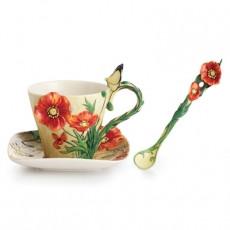 Franz Van Gogh Poppy Flower Cup/Saucer/Spoon Set