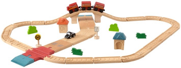 The PlanToys Road System Deluxe is a wonderful set that comes with rearrangeable double sided pieces, designed to be used as railway tracks on one side or a road for cars on the other. The 42-piece set includes toy cars and trains, connectors and plenty of track pieces. PlanToys manufacture at an extremely high quality that is built to last, and design toys to encourage imaginative play.
