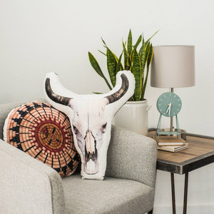 Cow Skull Velvet Pillow