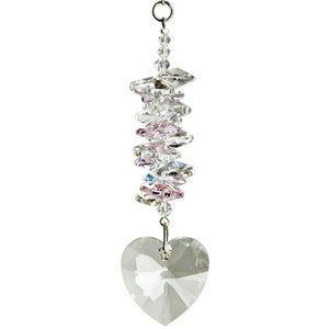 Crystal Heart Cascade Suncatcher- Rose