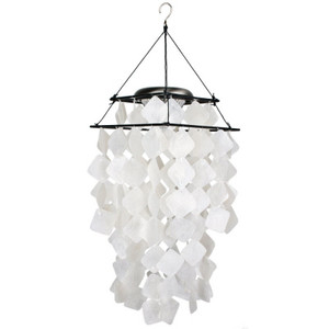 Capiz Solar Chime- White Diamonds