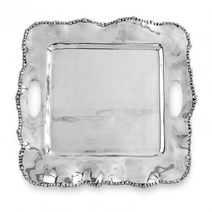 Beatriz Ball Medium Organic Pearl Kristi Square Tray with Handles