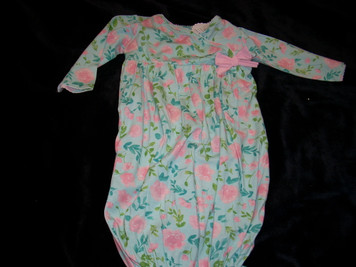 Floral Pink/Blue Baby Gown 3-6 m0