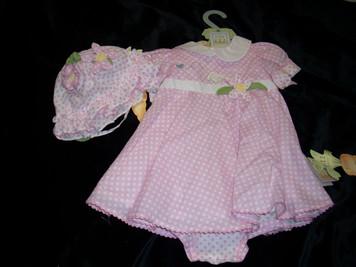 Blossom Pink Dress/Sun Hat Set 9-12 mo
