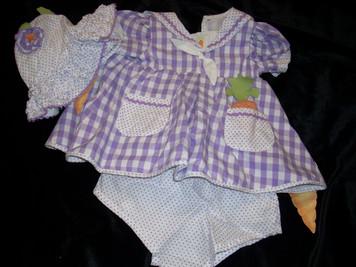 Bunnie By the Bay Purple Dress/Sunhat set 9-12 mo