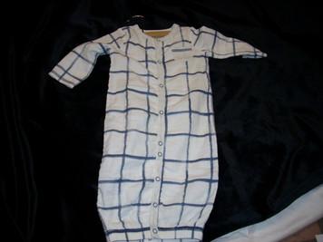 Muslin Blue Plaid Gown 0-3 Mo