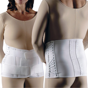 Unisex 2-Pull Side-Lace Ez-Fit Lumbosacral Back Support Corset Straight Hip