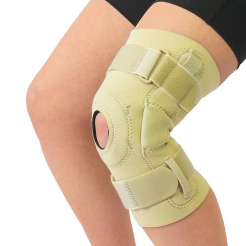 Neoprene Cushioned Hyperextension Hinged Knee Brace -Beige