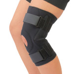 Neoprene Cushioned Hyperextension Hinged Knee Brace -Black