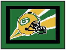 "Green Bay Packers Flag Crochet Graph Afghan Pattern.  All done in single crochet, changing colors as you go along.  Drop one color, pull in the next.  Medium ability.  Size works up to be approx. 50 x 70"".  Graph is 120 stitches wide by 160 stitches high.  Then you crochet 22 rows around the outside edge including a border, if you would like it larger.  Complete instructions are included, a full size graph, and a Helpful Hints page. DOWNLOADABLE"