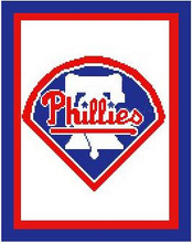 "Philadelphia Phillies Logo Crochet Graph Afghan Pattern.  All done in single crochet, changing colors as you go along.  Drop one color, pull in the next.  Medium ability.  Size works up to be approx. 50 x 70"".  Graph is 100 stitches wide by 140 stitches high.  Then you crochet 22 rows (or more) around the outside edge including a border, if you would like it larger.  Complete instructions are included, a full size graph, and a Helpful Hints page. DOWNLOADABLE WITH ORDER CONFIRMATION OR IF YOU WANT IT MAILED, SEND ME AN EMAIL."