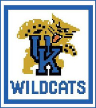 "University of Kentucky Logo Crochet Graph Afghan Pattern.  All done in single crochet, changing colors as you go along.  Drop one color, pull in the next.  Medium ability.  Size works up to be approx. 50 x 70"".  Graph is 64 stitches wide by 104 stitches high.  Then you crochet 22 rows (or more) around the outside edge including a border, if you would like it larger.  Complete instructions are included, a full size graph, and a Helpful Hints page. DOWNLOADABLE"