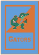 """Florida Gators University Logo Crochet Graph Afghan Pattern.  All done in single crochet, changing colors as you go along.  Drop one color, pull in the next.  Medium ability.  Size works up to be approx. 50 x 70"""".  Graph is 72 stitches wide by 112 stitches high.  Then you crochet 22 rows (or more) around the outside edge including a border, if you would like it larger.  Complete instructions are included, a full size graph, and a Helpful Hints page. DOWNLOADABLE WITH PATTERN ORDER CONFIRMATION OR EMAIL ME IF YOU'D LIKE TO HAVE IT MAILED INSTEAD."""