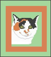 """Calico Cat Face Crochet Afghan Graph Pattern.  All done in single crochet, changing colors as you go along.  Drop one color, pull in the next.  Medium ability.  Size works up to be approx. 40 x 60"""".  Graph is 64 stitches wide by 104 stitches high.  Then you crochet 22 rows (or more) around the outside edge including a border.  Complete instructions are included, a full size graph, and a Helpful Hints page. DOWNLOAD WILL COME TO YOU IN AN EMAIL ORDER CONFIRMATION.  Just click """"Download Files"""" and Enjoy!"""