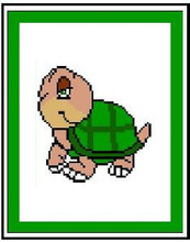 """Turtle Smile Crochet Afghan Graph Pattern.  All done in single crochet, changing colors as you go along.  Drop one color, pull in the next.  Medium ability.  Size works up to be approx. 40 x 60"""".  Graph is 64 stitches wide by 104 stitches high.  Then you crochet 22 rows (or more) around the outside edge including a border.  Complete instructions are included, a full size graph, and a Helpful Hints page."""