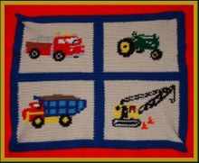 """Trucks and Tractors Crochet Afghan Graph Pattern.   All done in single crochet, changing colors as you go along.  Trucks and Tractors Crochet Afghan Graph Pattern.  All done in single crochet, changing colors as you go along.  Drop one color, pull in the next.  Medium ability.  Size works up to be approx. 50 x 70"""".  Graph is 100 stitches wide by 100 stitches high.  Then you crochet 22 rows (or more) around the outside edge including a border.  Complete instructions are included, a full size graph, and a Helpful Hints page. DOWNLOAD EMAIL WILL COME TO YOU IN 20 MINUTES WITHIN THE ORDER CONFIRMATION.  JUST CLICK """"DOWNLOAD FILES"""".  OR EMAIL ME IF YOU WANT IT MAILED INSTEAD."""