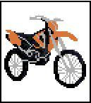 "BMX Motorcycle Crochet Afghan Graph Pattern.  All done in single crochet, changing colors as you go along.  Drop one color, pull in the next.  Medium ability.  Size works up to be approx. 40 x 60"".  Graph is 64 stitches wide by 104 stitches high.  Then you crochet 22 rows (or more) around the outside edge including a border.  Complete instructions are included, a full size graph, and a Helpful Hints page. DOWNLOADABLE WITH ORDER CONFIRMATION OR EMAIL ME IF YOU WANT IT MAILED."