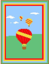 """Hot Air Balloons Crochet Afghan Graph Pattern. Also looks great with variegated yarn. All done in single crochet, changing colors as you go along.  Drop one color, pull in the next.  Medium ability.  Size works up to be approx. 40 x 60"""".  Graph is 64 stitches wide by 104 stitches high.  Then you crochet 22 rows (or more) around the outside edge including a border.  Complete instructions are included, a full size graph, and a Helpful Hints page. DOWNLOAD WILL BE EMAILED TO YOU WITHIN 20 MINUTES OF PLACING ORDER.  Just click on """"Download Files"""".  Or, if you'd rather have it mailed to you, just email me.  Enjoy!"""