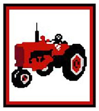 """Farmall Tractor Crochet Afghan Graph Pattern.  All done in single crochet, changing colors as you go along.  Drop one color, pull in the next.  Medium ability.  Size works up to be approx. 40 x 60"""".  Graph is 64 stitches wide by 104 stitches high.  Then you crochet 22 rows (or more) around the outside edge including a border.  Complete instructions are included, a fll size graph, and a Helpful Hints page. DOWNLOADABLE WITH ORDER CONFIRMATION."""
