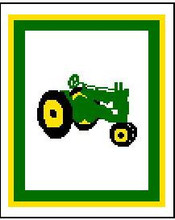 "John Deere Tractor Crochet Afghan Graph Pattern.  All done in single crochet, changing colors as you go along.  Drop one color, pull in the next.  Medium ability.  Size works up to be approx. 40 x 60"".  Graph is 64 stitches wide by 104 stitches high.  Then you crochet 22 rows (or more) around the outside edge including a border.  Complete instructions are included, a full size graph, and a Helpful Hints page. DOWNLOAD WILL COME IN AN EMAIL WITHIN 20 MINUTES WITH ORDER CONFIRMATION.  Just click ""Download Files"" and Enjoy!... OR EMAIL ME IF YOU'D LIKE IT MAILED."