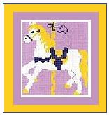 """Carousel Horse Crochet Afghan Graph Pattern.  All done in single crochet, changing colors as you go along.  Drop one color, pull in the next.  Medium ability.  Size works up to be approx. 40 x 60"""".  Graph is 64 stitches wide by 104 stitches high.  Then you crochet 22 rows (or more) around the outside edge including a border.  Complete instructions are included, a full size graph, and a Helpful Hints page. DOWNLOAD WILL BE SENT TO YOU WITH ORDER CONFIRMATION."""