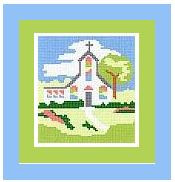 """Country Church Crochet Afghan Graph Pattern.  All done in single crochet, changing colors as you go along.  Drop one color, pull in the next.  Medium ability.  Size works up to be approx. 40 x 60"""".  Graph is 64 stitches wide by 104 stitches high.  Then you crochet 22 rows (or more) around the outside edge including a border.  Complete instructions are included, a full size graph, and a Helpful Hints page."""