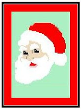 "Santa Face Crochet Afghan Graph Pattern.  All done in single crochet, changing colors as you go along.  Drop one color, pull in the next.  Medium ability.  Size works up to be approx. 40 x 60"".  Graph is 64 stitches wide by 104 stitches high.  Then you crochet 22 rows (or more) around the outside edge including a border.  Complete instructions are included, a full size graph, and a Helpful Hints page."