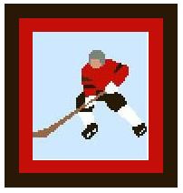 "Hockey Player Crochet Afghan Graph Pattern.  All done in single crochet, changing colors as you go along.  Drop one color, pull in the next.  Medium ability.  Size works up to be approx. 40 x 60"".  Graph is 64 stitches wide by 104 stitches high.  Then you crochet 22 rows (or more) around the outside edge including a border.  Complete instructions are included, a full size graph, and a Helpful Hints page. DOWLOADABLE WHEN PAYMENT IS COMPLETED THROUGH SEPARATE EMAIL OR SEND ME A NOTE IF YOU WANT IT MAILED."