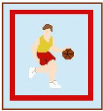 "Basketball Player Crochet Afghan Graph Pattern.  All done in single crochet, changing colors as you go along.  Drop one color, pull in the next.  Medium ability.  Size works up to be approx. 40 x 60"".  Graph is 64 stitches wide by 104 stitches high.  Then you crochet 22 rows (or more) around the outside edge including a border.  Complete instructions are included, a full size graph, and a Helpful Hints page."