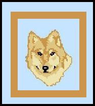 """Wolf Crochet Afghan Graph Pattern.  All done in single crochet, changing colors as you go along.  Drop one color, pull in the next.  Medium ability.  Size works up to be approx. 40 x 60"""".  Graph is 64 stitches wide by 104 stitches high.  Then you crochet 22 rows (or more) around the outside edge including a border.  Complete instructions are included, a full size graph, and a Helpful Hints page."""