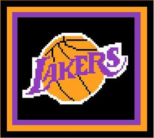 "Los Angeles Lakers Crochet Afghan Graph Pattern.  All done in single crochet, changing colors as you go along.  Drop one color, pull in the next.  Medium ability.  Size works up to be approx. 40 x 60"".  Graph is 72 stitches wide by 112 stitches high.  Then you crochet 22 rows (or more) around the outside edge including a border.  Complete instructions are included, a full size graph, and a Helpful Hints page. DOWNLOADABLE"
