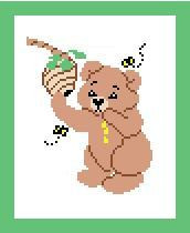 "Honey Bear Crochet Afghan Graph Pattern.  All done in single crochet, changing colors as you go along.  Drop one color, pull in the next.  Medium ability.  Size works up to be approx. 40 x 60"".  Graph is 64 stitches wide by 104 stitches high.  Then you crochet 22 rows (or more) around the outside edge including a border.  Complete instructions are included, a full size graph, and a Helpful Hints page."