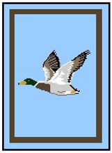"Mallard in Flight Crochet Afghan Graph Pattern.  All done in single crochet, changing colors as you go along.  Drop one color, pull in the next.  Medium ability.  Size works up to be approx. 50 x 70"".  Graph is 100 stitches wide by 140 stitches high.  Then you crochet 22 rows (or more) around the outside edge including a border.  Complete instructions are included, a full size graph, and a Helpful Hints page. YOUR ORDER CONFIRMATION WILL BE EMAILED TO YOU WITH CLICKABLE DOWNLOADS OF PATTERN. ENJOY!"
