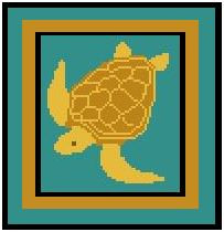 "Sea Turtle Crochet Afghan Graph Pattern.  All done in single crochet, changing colors as you go along.  Drop one color, pull in the next.  Medium ability.  Size works up to be approx. 40 x 60"".  Graph is 64 stitches wide by 104 stitches high.  Then you crochet 22 rows (or more) around the outside edge including a border.  Complete instructions are included, a full size graph, and a Helpful Hints page. DOWNLOAD WILL BE SENT TO  YOU WITH ORDER CONFIRMATION."