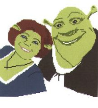 """Shrek and Fiona Crochet Afghan Graph Pattern.  All done in single crochet, changing colors as you go along.  Drop one color, pull in the next.  Medium ability.  Size works up to be approx. 50 x 70"""".  Graph is 120 stitches wide by 160 stitches high.  Then you crochet 22 rows (or more) around the outside edge including a border.  Complete instructions are included, a full size graph, and a Helpful Hints page."""