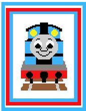 "Thomas the Tank Engine Crochet Afghan Graph Pattern.  All done in single crochet, changing colors as you go along.  Drop one color, pull in the next.  Medium ability.  Size works up to be approx. 40 x 60"".  Graph is 64 stitches wide by 104 stitches high.  Then you crochet 22 rows (or more) around the outside edge including a border.  Complete instructions are included, a full size graph, and a Helpful Hints page. DOWNLOAD WILL BE SENT TO YOU IN AN EMAIL CONFIRMING THE ORDER.  JUST CLICK ON ""DOWNLOAD FILES"".  ENJOY!"