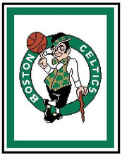 """Boston Celtics Crochet Afghan Graph Pattern.  All done in single crochet, changing colors as you go along.  Drop one color, pull in the next.  Medium ability.  Size works up to be approx. 50 x 70"""".  Graph is 116 stitches wide by 154 stitches high.  Then you crochet 22 rows (or more) around the outside edge including a border.  Complete instructions are included, a full size graph, and a Helpful Hints page. DOWNLOADABLE."""