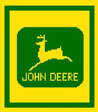 "John Deere LOGO Crochet Afghan Graph Pattern.  All done in single crochet, changing colors as you go along.  Drop one color, pull in the next.  Medium ability.  Size works up to be approx. 40 x 60"".  Graph is 64 stitches wide by 104 stitches high.  Then you crochet 22 rows (or more) around the outside edge including a border.  Complete instructions are included, a full size graph, and a Helpful Hints page. DOWNLOAD WILL BE EMAILED WITHIN THE ORDER CONFIRMATION (JUST CLICK ON ""DOWNLOAD FILES"");  OR EMAIL ME IF YOU'D LIKE IT MAILED."