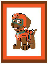 """ZUMA from Paw Patrol Crochet Afghan Graph Pattern.  All done in single crochet, changing colors as you go along.  Drop one color, pull in the next.  Medium ability.  Size works up to be approx. 40 x 60"""".  Graph is 64 stitches wide by 104 stitches high.  Then you crochet 22 rows (or more) around the outside edge including a border.  Complete instructions are included, a full size graph, and a Helpful Hints page. DOWNLOAD WILL BE EMAILED TO YOU WITHIN 20 MINUTES OF PLACING ORDER.  Just click """"Download Files"""".   Enjoy!"""
