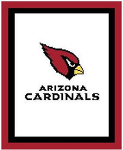 "Arizona Cardinals Logo Crochet Graph Afghan Pattern.  All done in single crochet, changing colors as you go along.  Drop one color, pull in the next.  Medium ability.  Size works up to be approx. 50 x 70"".  Graph is 100 stitches wide by 140 stitches high.  Then you crochet 22 rows (or more) around the outside edge including a border; add more rows if you would like it larger.  Complete instructions are included, a full size graph, and a Helpful Hints page. DOWNLOADABLE WITH ORDER CONFIRMATION OR EMAIL ME IF YOU WANT IT MAILED."