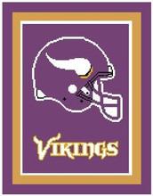 "Minnesota Vikings Crochet Afghan Graph Pattern.  All done in single crochet, changing colors as you go along.  Drop one color, pull in the next.  Medium ability.  Size works up to be approx. 50 x 70"".  Graph is 100 stitches wide by 140 stitches high.  Then you crochet 22 rows (or more) around the outside edge including a border.  Complete instructions are included, a full size graph, and a Helpful Hints page. You will receive the download in 20 minutes or sooner, within your Order Confirmation.  Just click ""Download Files"" and Enjoy!"