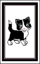 """Black & White Kitten Crochet Afghan Graph Pattern.  All done in single crochet, changing colors as you go along.  Drop one color, pull in the next.  Medium ability.  Size works up to be approx. 40 x 60"""".  Graph is 64 stitches wide by 104 stitches high.  Then you crochet 22 rows (or more) around the outside edge including a border.  Complete instructions are included, a full size graph, and a Helpful Hints page. DOWNLOAD WILL BE SENT TO YOU IN YOUR ORDER CONFIRMATION EMAIL.  Just Click """"Download Files"""" and Enjoy!"""