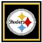"""Steelers Logo Crochet PILLOW Pattern.  All done in single crochet, changing colors as you go along.  Drop one color, pull in the next.  Medium ability.  Size works up to be approx. 20X20"""".  Graph is 60 stitches wide by 60 stitches high.  Then you crochet a border around the outside edge; and crochet a solid back.  Complete instructions are included, a full size graph, and a Helpful Hints page. DOWNLOADABLE WITH ORDER CONFIRMATION. Just click """"Download Files"""" and Enjoy!"""