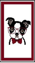 "Boston Terrier with Glasses Crochet Afghan Graph Pattern.  All done in single crochet, changing colors as you go along.  Drop one color, pull in the next.  Medium ability.  Size works up to be approx. 50 x 70"".  Graph is 64 stitches wide by 104 stitches high.  Then you crochet 22 rows (or more) around the outside edge including a border.  Complete instructions are included, a full size graph, and a Helpful Hints page. Download will be emailed to you within your Order Confirmation.  Just click ""Download Files"", 3 pages, and Enjoy!"