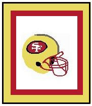 "San Francisco 49ers Crochet Graph Afghan Pattern.  All done in single crochet, changing colors as you go along.  Drop one color, pull in the next.  Medium ability.  Size works up to be approx. 50 x 70"".  Graph is 104 stitches wide by 144 stitches high.  Then you crochet 22 rows around the outside edge including a border, if you would like it larger.  Complete instructions are included, a full size graph, and a Helpful Hints page. DOWNLOADABLE."