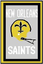 "New Orleans Saints Crochet Graph Afghan Pattern.  All done in single crochet, changing colors as you go along.  Drop one color, pull in the next.  Medium ability.  Size works up to be approx. 50 x 70"".  Graph is 128 stitches wide by 208 stitches high.  Then you crochet 22 rows around the outside edge including a border, if you would like it larger.  Complete instructions are included, a full size graph, and a Helpful Hints page. DOWNLOADABLE"