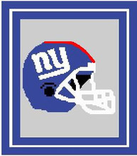 """New York Giants Crochet Graph Afghan Pattern.  All done in single crochet, changing colors as you go along.  Drop one color, pull in the next.  Medium ability.  Size works up to be approx. 50 x 70"""".  Graph is 100 stitches wide by 140 stitches high.  Then you crochet 22 rows around the outside edge including a border, if you would like it larger.  Complete instructions are included, a full size graph, and a Helpful Hints page. DOWNLOADABLE"""