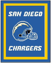 "San Diego Chargers Crochet Graph Afghan Pattern.  All done in single crochet, changing colors as you go along.  Drop one color, pull in the next.  Medium ability.  Size works up to be approx. 50 x 70"".  Graph is 120 stitches wide by 160 stitches high.  Then you crochet 22 rows around the outside edge including a border, if you would like it larger.  Complete instructions are included, a full size graph, and a Helpful Hints page. DOWNLOAD WILL COME TO YOU IN THE CONFIRMATION EMAIL.  JUST CLICK ""DOWNLOAD FILES"" TO PRINT IT OUT.  ENJOY!"