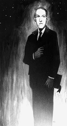 Rendering of HP Lovecraft standing